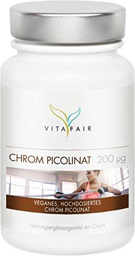 Chrom Picolinat | 200μg pro Tagesdosis | 365 Kapseln | Jahresvorrat | 500% Tagesbedarf |...
