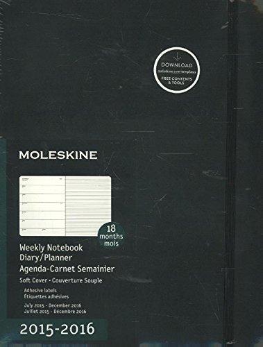 2016 Moleskine Extra Large Weekly Notebook 18 Month Diary Soft par Moleskine