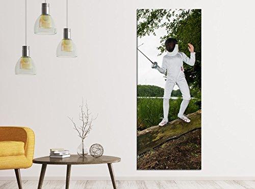 Leinwandbilder 1Tlg 40x100cm Sport Fechten Rapier Maske Baum Leinwandbild Kunstdruck Wand Bilder Vlies Wandbild Leinwand Bild Druck 9ZA1523, Leinwandbild Gr. 1:40cmx100cm