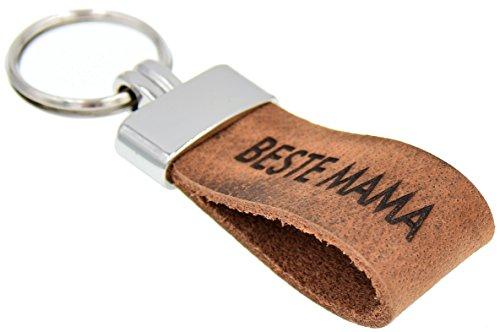 Schlüsselanhänger Original Pelluca Italienisches Echtleder Handgemacht in Deutschland 10 Jahre Garantie (Gravur: Beste Mama, Ring: Silber)