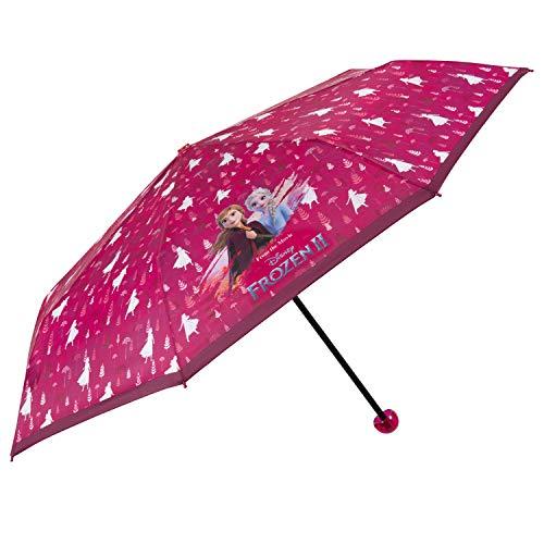 Ombrello frozen 2 piccolo da bambina - ombrellino tascabile fucsia con anna e elsa per bimba dai 7 anni - ombrello mini pieghevole antivento rosa del film disney il segreto di arendelle - perletti