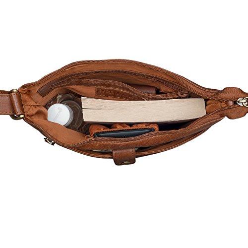 STILORD 'Lina' Borsa a tracolla da donna pelle piccola borsa per tablet 10.1 pollici borsa da sera borsa a mano vera pelle, Colore:marrone antico marrone antico