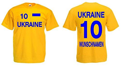 Ukraine Trikot mit Wunschname und Wunschnummer EM 2016|gelb-XL