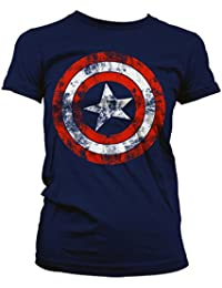 Official Women's Captain America Distressed Logo Navy Blue Slim Fitted Ladies T-Shirt