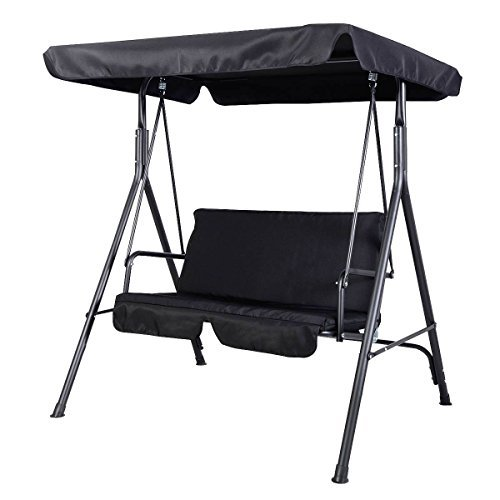 Goplus? Patio Swing Outdoor Canopy Awning Yard Furniture Hammock Steel Black 2 Person by Super buy - Patio Swing Canopy