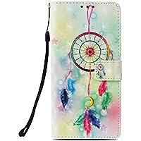 Phcases Funda Cubierta de Teléfono Samsung Galaxy S9 Plus Cuero Premium con Pintura Colorida en 3D Anti Golpes y Billetera con Ranura para Tarjetas, Cierre Magnético-Campanas de Viento.