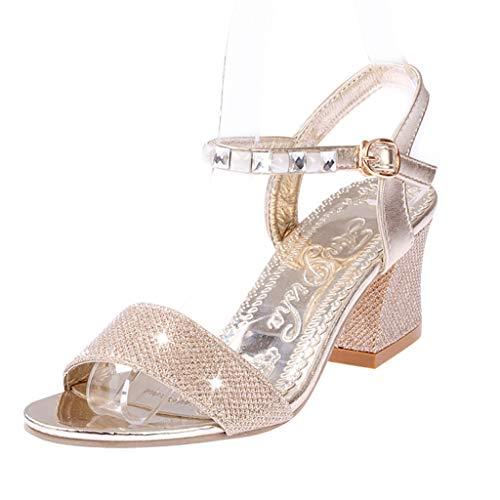 Qinmm sandali tacco largo sandali estive donna eleganti boemo mare donna romani sandali tacco medio sandali gioiello fibbia di strasssandali vintage
