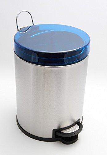 Carpemodo Poubelle INOX 7 l/Poubelle à pédale avec Couvercle, mécanisme de Couleur Bleue et avec Son Seau intérieur Amovible Poubelle à pédale Ronde en Acier Inoxydable