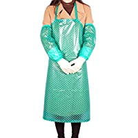 Cabilock PVC Long Apron with Sleeves Covers Waterproof Apron for Kitchen Working Washing Cleaning (Green)