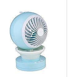 Divgdovg USB Ventilateur Climatiseur Mobile 3 en 1 Mini Humidificateur Refroidisseur d'air Personnel 7 LED Couleurs pour Maison/Bureau/Voiture/Voyage en Plein Air/Camping Puissance,Bleu