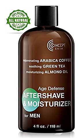 Mens Moisturiser, Organic Ingredients with Caffeine, Grape Seed Extract, Green Tea + Almond Oil -Soothing Aftershave Balm & Anti Aging Cream, Especially for Sensitive Skin & Razor Burn, Paraben Free, No Alcohol - Concept Skin