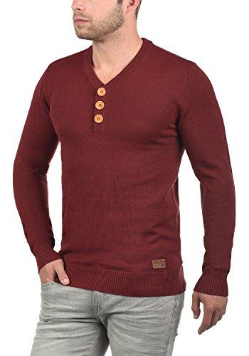 BLEND Legolas Herren Pullover Strickpullover mit Grandad-Kragen aus weicher Baumwollmischung Andorra Red (73811)