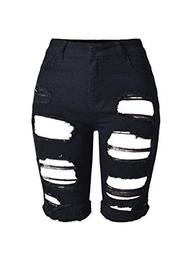 iRachel Damen Denim Stretch Capri Jeans Hohe Taille Short kurze Hose Ripped Loch Hose