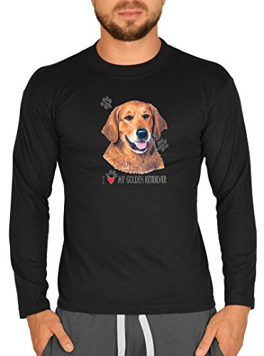 Hunde Rassen Motiv Longsleeve : Golden Retriever -- Herren Langarmshirt / schwarz Schwarz