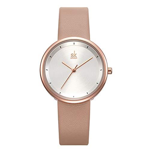 SW Watches SK Frauen Kleiden Uhren Luxusmarke Beige Leder Damen Quarz Uhr Genfer Armbanduhr,Beige