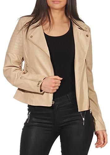 Malito Damen Jacke | Kunstleder Jacke | Jacke mit Zipper | lässige Bikerjacke - Faux Leather 5177 (beige, S) Beige Damen-jacke