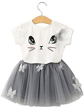 2017 Vovotrade 2 piezas 3-8 años chico niña conjunto ropa, Camiseta de la cara del conejo + falda del cordón de...