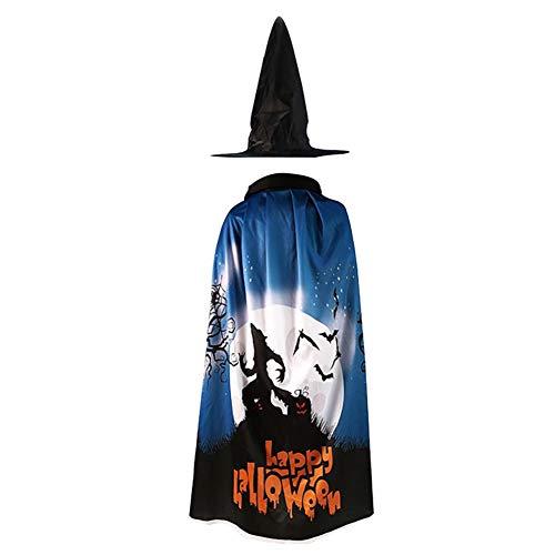 KINJOHI Kinder Kinder Robe Hut Zauberer Hexe Halloween für Jungen Mädchen Kostüm Cosplay Umhang Kostüme (Geisterbild) (Bezaubernd Hexe Für Erwachsene Damen Kostüm)
