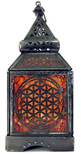 Guru-Shop Orientalische Eisen/Glas Laterne in Marrokanischem Design, Windlicht, Orange, Farbe: Orange, 23x9,5x9,5 cm, Orientalische Laternen