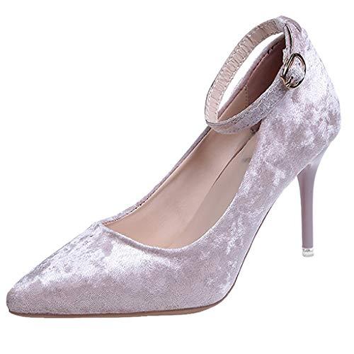 MORETIME Scarpe da Uomo,Womens Cinturino alla Caviglia Sottile Tacco Alto Stiletto Pompe Flock Lavoro Partito Scarpe Appuntite