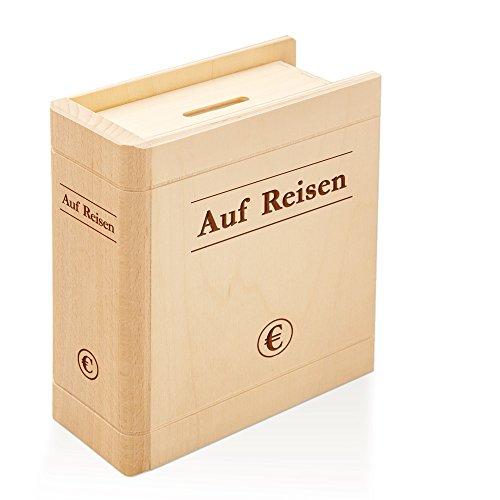 Spardose Buch aus Holz mit Gravur – Auf Reisen - Sparbuch als originelles Geschenk für Urlaubsgeld - Geldgeschenk-Sparbüchse aus Ahornholz – Urlaubskasse für Flitterwochen - 13,5 x 16,5 x 6,5 cm