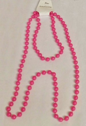 Best Dress London Kostüm Fancy - 80s style 48in plastic neon pink bead necklace by wicked
