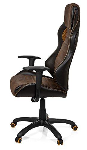 41yCJWNoL6L - hjh OFFICE 621880 RACER VINTAGE IV - Silla Gaming y oficina,  piel sintética marrón