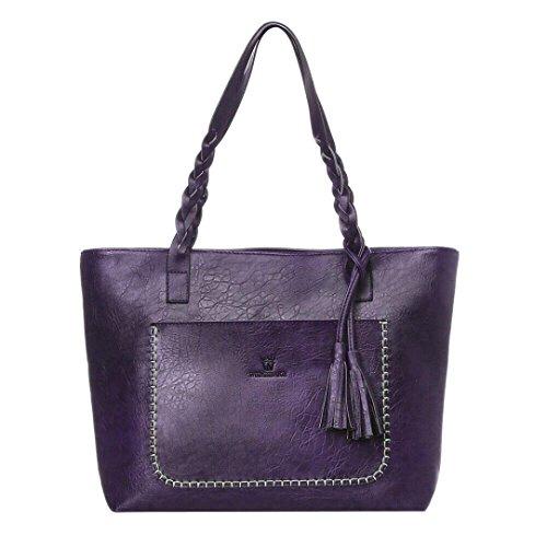 UFACE Mode GroßE Fransenhandschultertasche Damen Leder Quasten Handtasche Schulter Messenger Bag Satchel Tote Bags (Violett) (Longchamp Große Tote Bag)