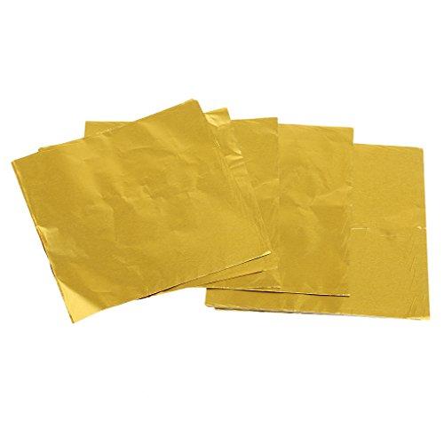 FITYLE 100er Set Süßigkeiten Schokolade Folie Papier Wrapper Stanniolpapier Verpackung - Golden -