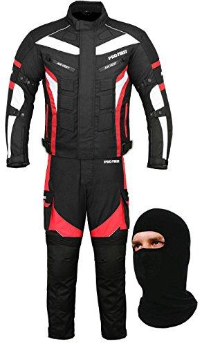 Produktbild Wasserdichtes Motorrad Klage Gewebe (Jacke + Hose + Balaclava) Motorradbekleidung für alle Wetter - Cordura Fabric - CE Armour - 6 Packs Entwurf - Rot / Red - Small / 36 Inch Chest