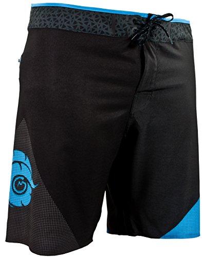 GUGGEN Mountain Herren Boardshorts mit Nahtloser Reißverschlusstasche Surfshorts Badeshorts Beachshorts Badehose Männer mit Muster Schwarz Blau M