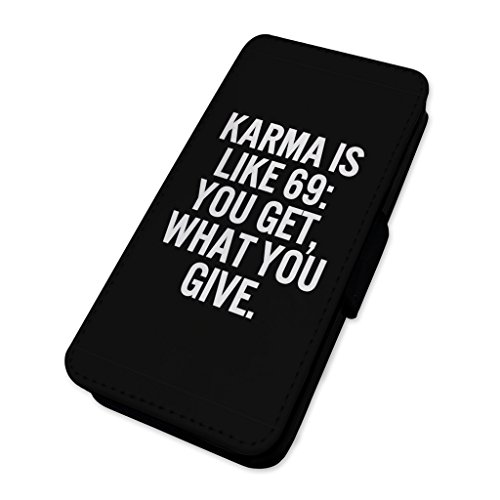 karma is like 69–divertente sesso posizione scherzo–Flip cover in pelle cover Apple iPhone 5C
