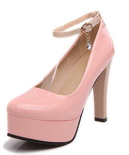 VogueZone009 Femme à Talon Haut Couleurs Mélangées Boucle Verni Rond Chaussures Légeres Rose