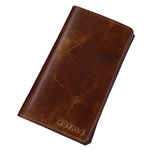 ROYALZ Universal Leder Tasche für Smartphones 5.0 - 5.5 Zoll Etui Portemonnaie Schutz Hülle Handy Cover Sleeve Crunchy Braun