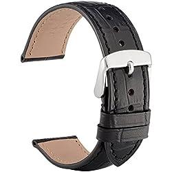 WOCCI 21mm Correa Reloj de Cuero Repujado, reemplazo Banda y Unisex (Negro)