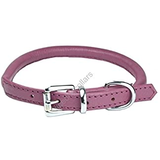 "Ace Dog Collars Super Soft Best Rolled Leather Dog Collar Purple : Medium 18"" (45 cm) : will fit 35 cm to 41 cm (Thickness 8 mm). 11"