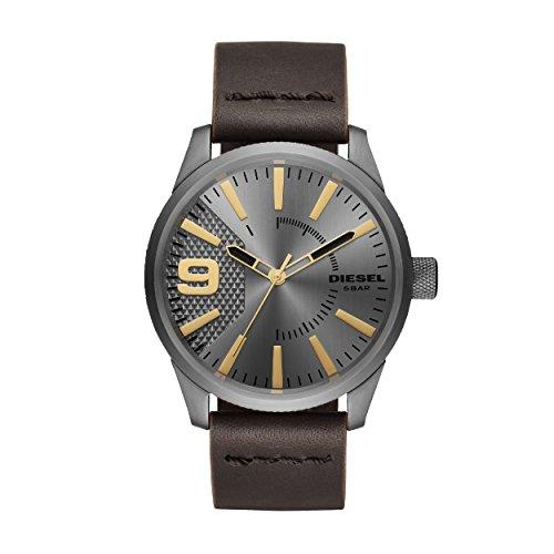 Diesel Herren Analog Quarz Uhr mit Leder Armband DZ1843
