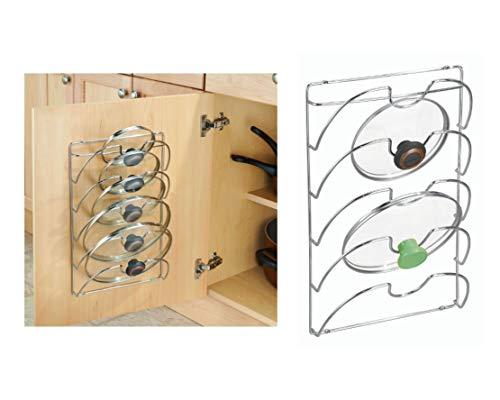 iDesign 48580EU Classico Topf- und Deckelhalter, 27,4 x 9,7 x 42,5 cm, chromfarben, steel, 6 Slot Organizer