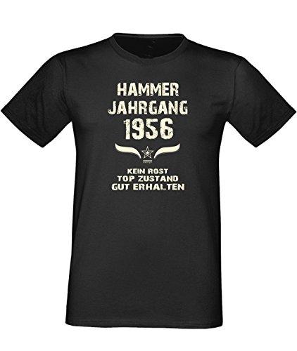Sprüche Fun T-Shirt Jubiläums-Geschenk zum 61. Geburtstag Hammer Jahrgang 1956 Farbe: schwarz blau rot grün braun auch in Übergrößen 3XL, 4XL, 5XL schwarz-01