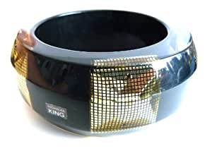 Nicholas King Handmade Resin Bangle with Gold Pyramid Studs Over Black