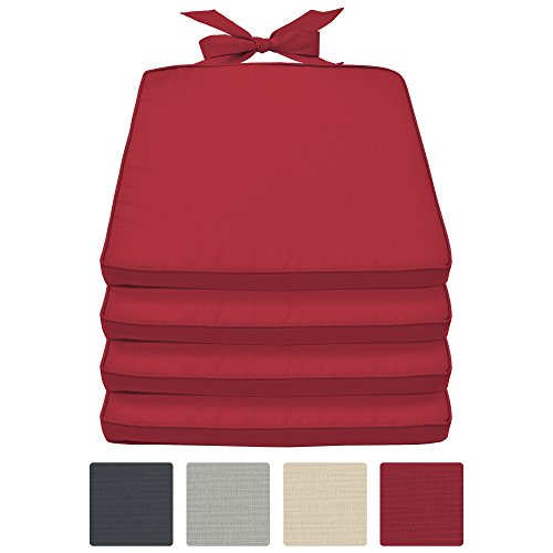Beautissu set da 4 cuscini per sedie pia - sfoderabili - per mobili da giardino di rattan o legno - 45x40x5cm - rosso