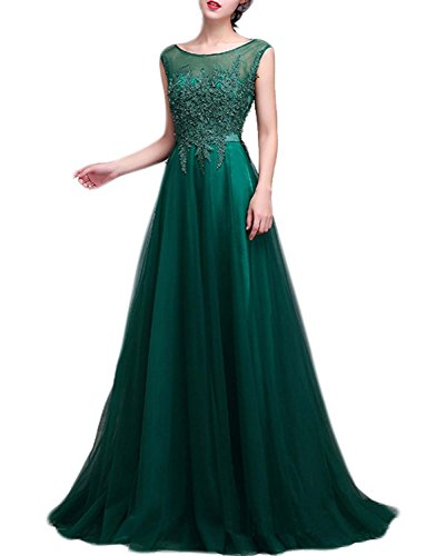 fanhao-ladies-round-neck-appliques-lace-short-tailing-long-evening-formal-dressgreens