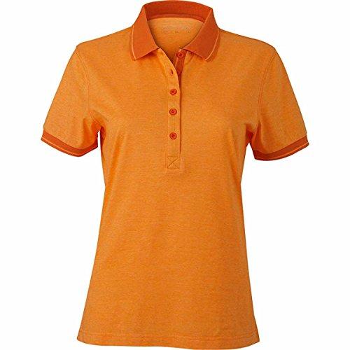 JAMES & NICHOLSON - polo chiné - manches courtes - JN705 - Femme Orange