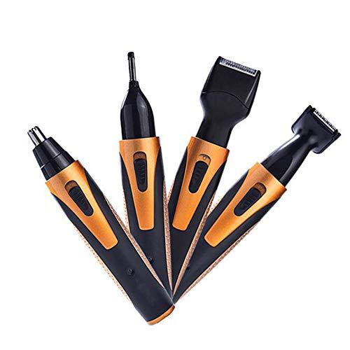 WANGXN Nasenhaarschneider 4 In 1 Wiederaufladbar Tragbar Nase Ohr Bart Augenbraue Trimmer Wasserdicht Grooming Kit Für Männer,Orange