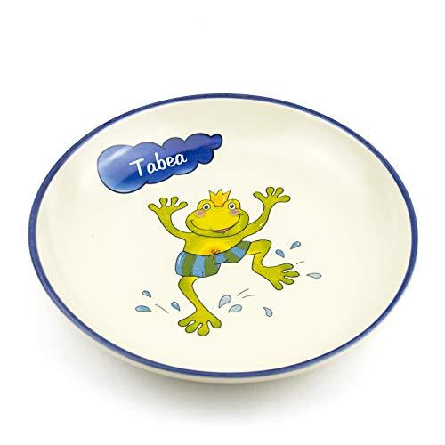 Teller mit Namen tief D 21cm in 9 möglichen Motiven Kinderteller aus Keramik Kindergeschirr mit Wunschbeschriftung (Frosch springend) -