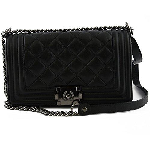 Borsa Donna In Pelle Trapuntata E Tracolla In Pelle E Catena Colore Nero - Pelletteria Toscana Made In Italy - Borsa Donna