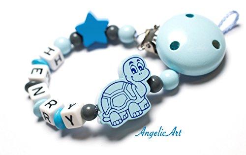 Schnullerkette mit Namen aus Holz Motiv Schildkröte Farbe Skyblau