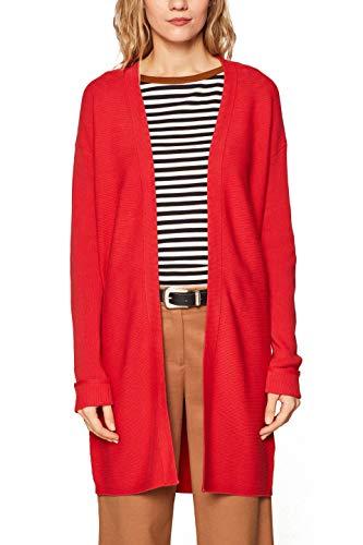 ESPRIT Damen 029EE1I017 Strickjacke Rot (Dark Red 610) Large (Herstellergröße: L)