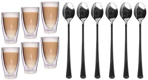 Feelino 6x 400ml XL doppelwandige Longdrink, Cocktail, Latte Macchiato Gläser + 6x Löffel, Eistee und Longdrinkglas