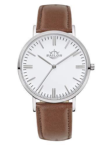 Sailor Damen Herren Uhr Classic Analog Quarz mit Leder Armband Basic braun, SL101-1022-36